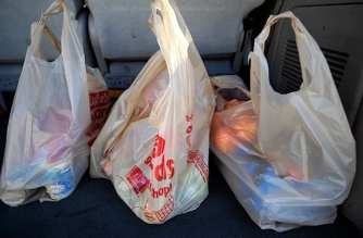 on November 17, 2010 in La Crescenta, California.  Los Angeles County Board of Supervisors passed a major ban on plastic grocery bags in unincorporated areas of the county on Tuesday November 16.