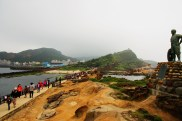 Looking back at the shore, and all the tourists at Yehliu GeoPark