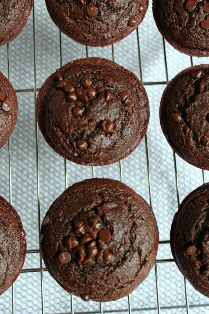 These skinny double chocolate muffins use healthy ingredients but still maintain that delicious chocolate flavor.