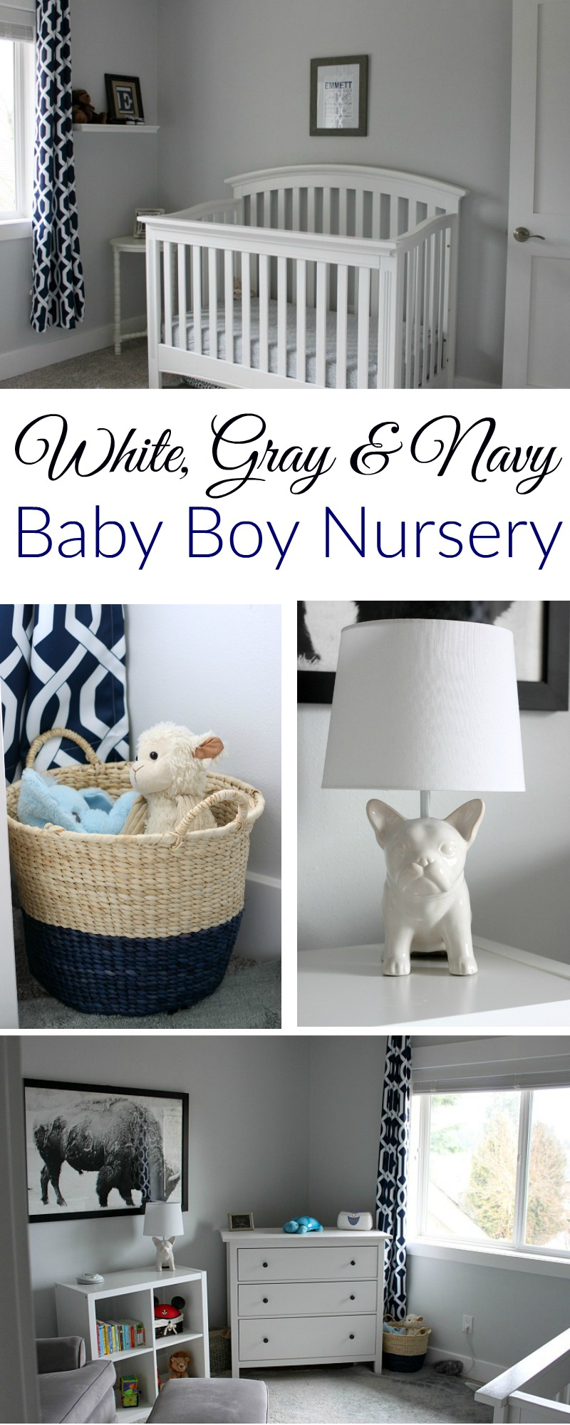 A simple and sweet as can be white, gray and navy baby boy nursery.