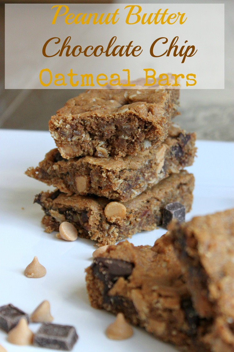 These chewy peanut butter chocolate chip oatmeal bars have just the right amount of sweetness to satisfy your sweet tooth.