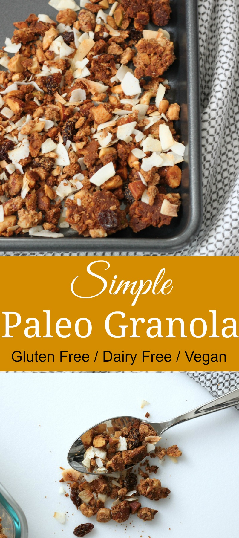This simple paleo granola recipe is easy to make and will have you reaching for seconds. And thirds, it's so good. #paleo #granola