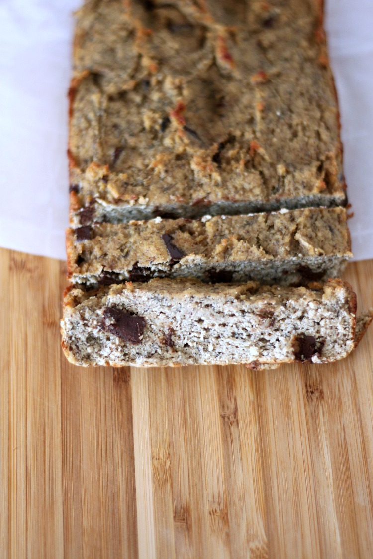 Paleo chocolate chip banana bread that is moist and takes no time to make.