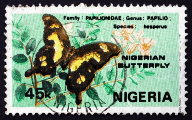 A Hesperus Swallowtail butterfly on a 1982 Nigerian stamp (Boris15 / Shutterstock)