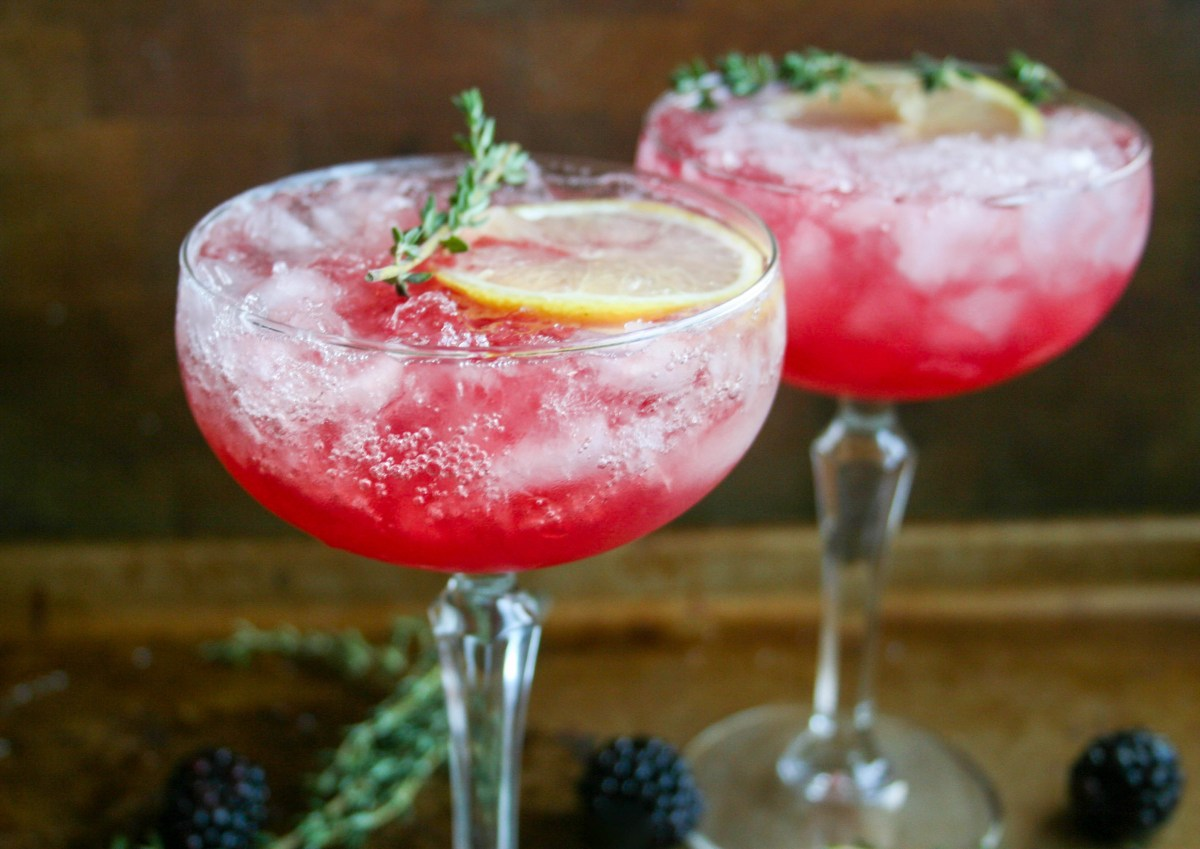 blackberry, thyme, and lemon bourbon cocktail