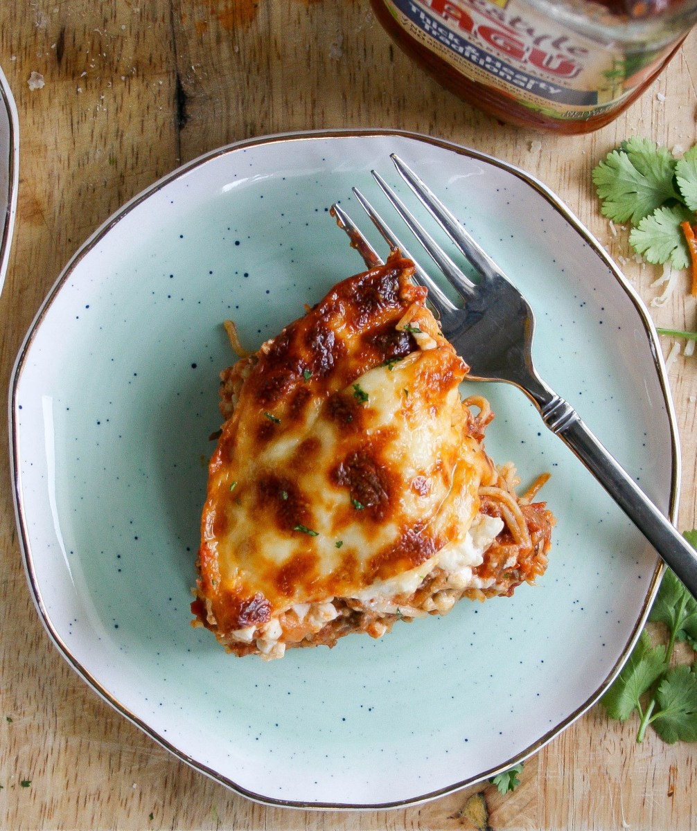 cheesy layered pasta bake