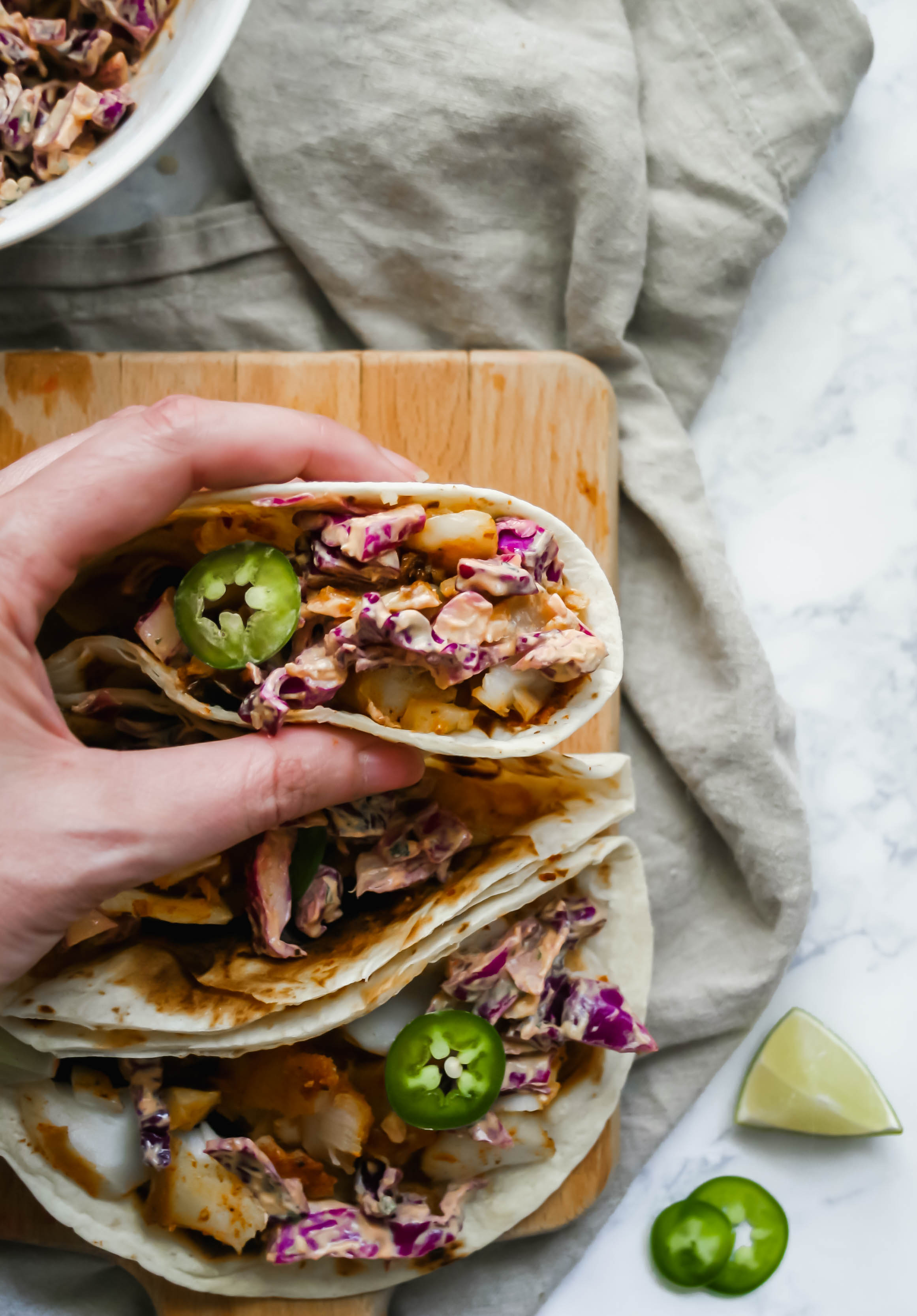 fish tacos with crunchy red cabbage slaw