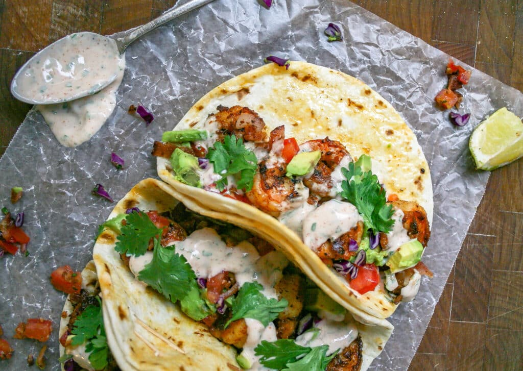 spicy shrimp tacos + sour cream cilantro sauce | a small batch recipe for  two