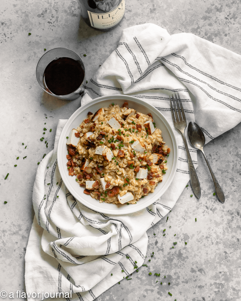 A delicious recipe for chicken bacon risotto for two people
