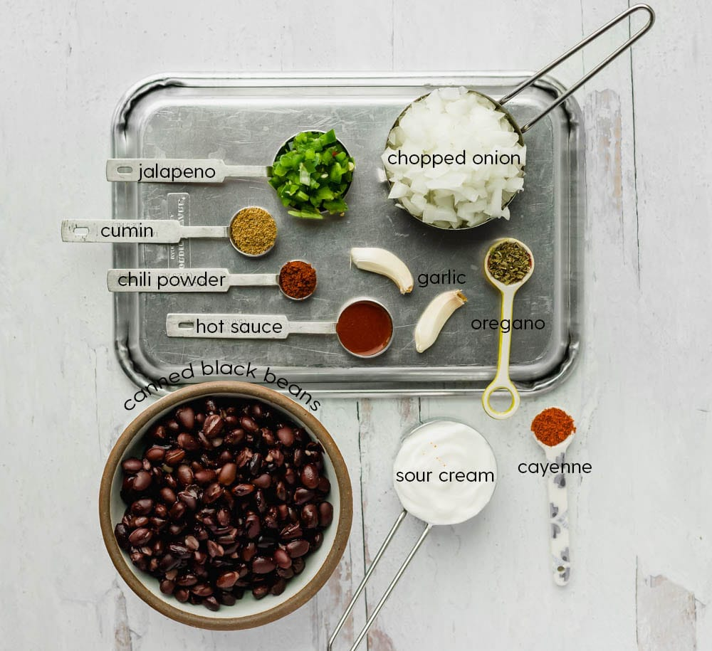 spices and ingredients for canned black beans
