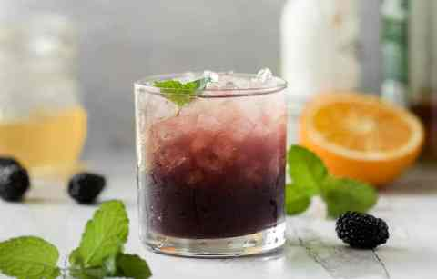 smash cocktail with blackberry and bourbon