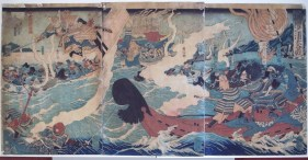 Battle of Dannoura (Yoshitsune's 8 Boat Leap to Escape the Taira warriors), Yoshitoshi, 1860s