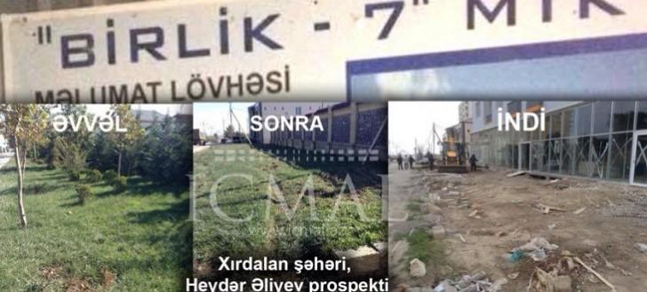 """Birlik-7"""" MTK Xırdalanda yaşıllıqları məhv edir!-"""