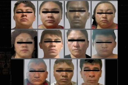 Entre los extorsionadores se encontraban cuatro mujeres, una de 19 años de edad.