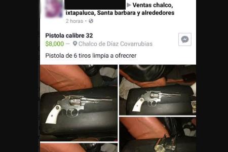 Denuncian venta de armas por Facebook en Edomex