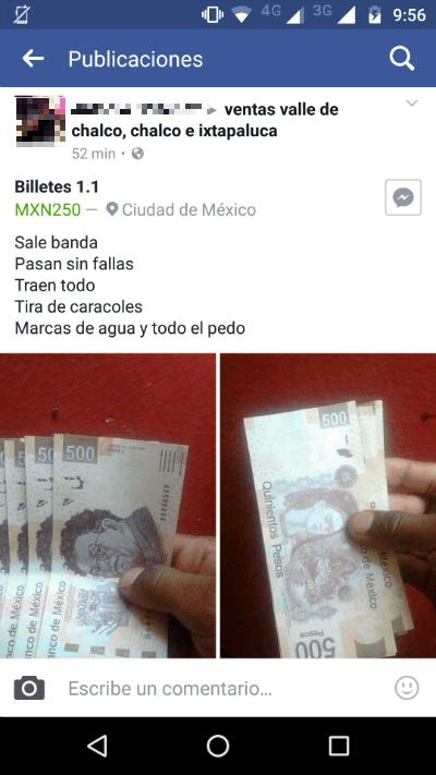 Denuncian venta de billetes falsos en grupos de Facebook