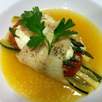 Baked Lemon Sole Stuffed With Vegetables and Goat Cheese
