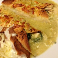 Chicken and Spinach Enchiladas with Green Chile Sauce