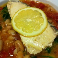 Hearty Grilled Fish over White Bean Stew