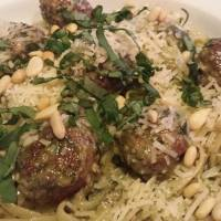 Creamy Basil Pesto Pasta with Turkey Meatballs
