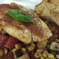 Seared Snapper over Summer Vegetable Stew