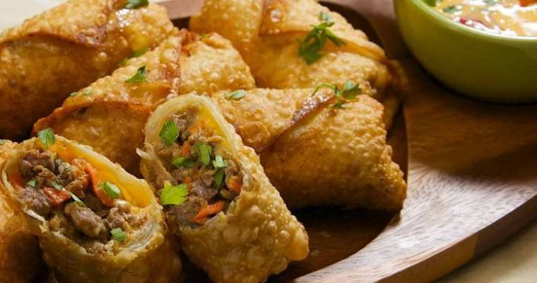 Korean Philly Cheese Steak Egg Rolls