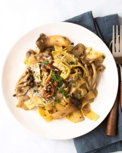 A plate of mushroom sauce and pasta