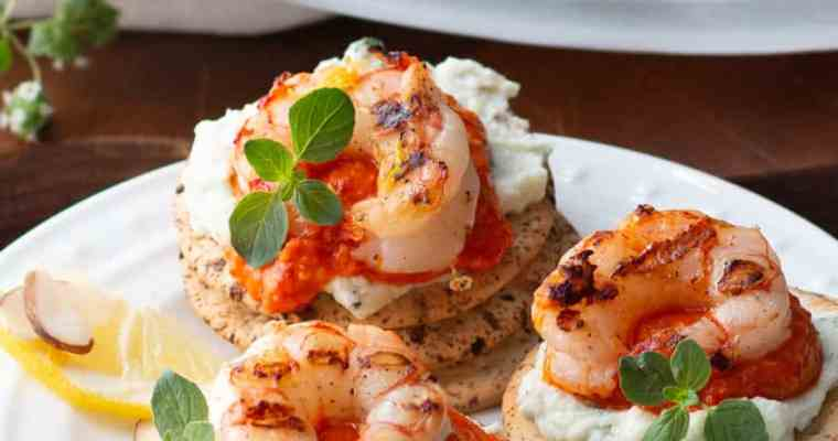Romesco Grilled Shrimp with Whipped Herb Ricotta and Wellington Crackers