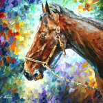 Horse Palette Knife Oil Painting On Canvas By Leonid Afremov Size 30 X24 75cm X 60cm