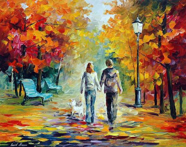 Stroll With A Friend Palette Knife Oil Painting On