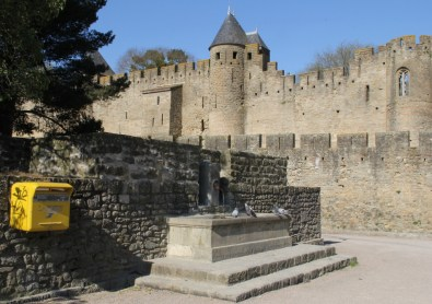 Outer walls and ramparts of Carcassonne. The medieval cite was restored by the french architect Eugène Emmanuel Viollet-le-Duc in the 19th. century.