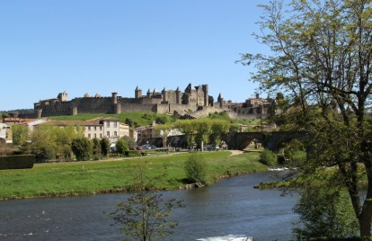 View of the old city from the new city on the other side of the river Aude.