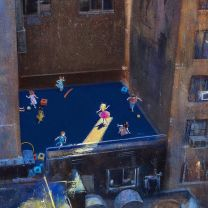 Well of Joy (oil on canvas - detail) Something I've observed for years from my apartment window. To be featured at my show in Berlin at Galerie Friedmann-Hahn opening May 11th. #berlin #nyc #newyork#apartmentliving #city #urban #exhibition#ausstellung #vernissage #kunst#art #arte #painting #oilpainting #oiloncanvas #children #fun #joy #happiness #instaart #davidfebland #contemporaryart #figurativeart #representationalart #modernart #fineart #architecture #playground