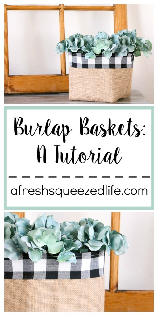 Hello! Let me walk you through this fun and simple Burlap Basket Tutorial. These are great for storing goodies in your farmhouse home!