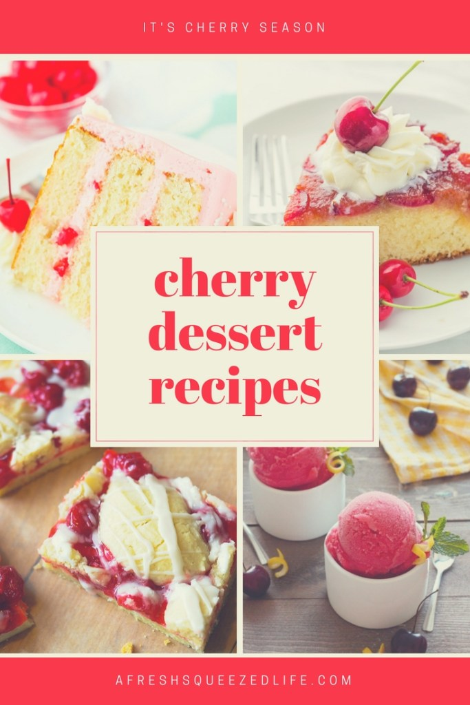 Cherry season is here and I am ready to start baking! This sweet/tart fruit is perfect when you add them to these delicious cherry dessert recipes.
