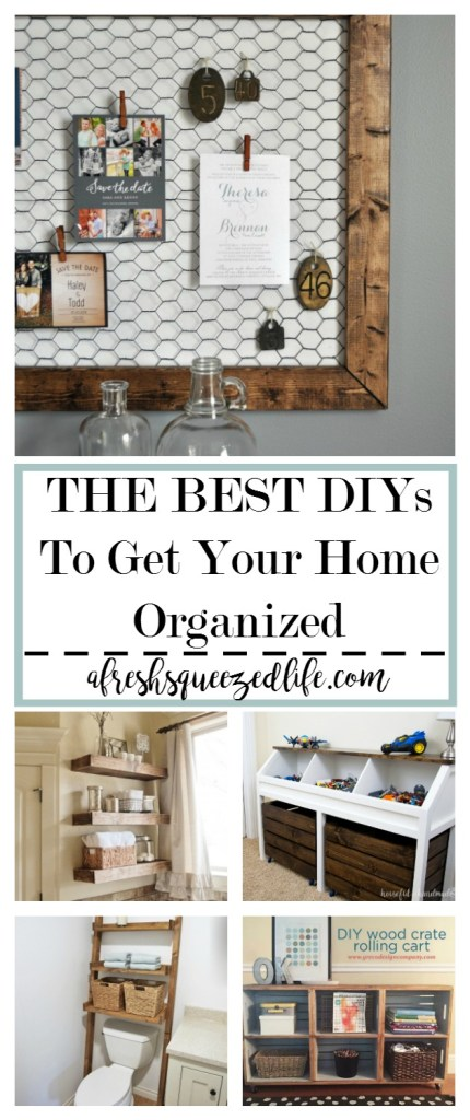 If clutter is getting out of control in your home it is time to get organized. I have rounded up the best tutorials for DIY organization! GET YOUR HOME ORGANIZED WITH A DIY PROJECT