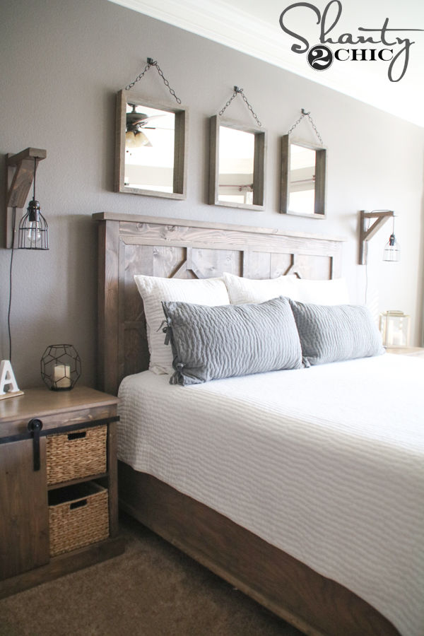 Diy your way to a farmhouse style bedroom a fresh for Farmhouse style bed
