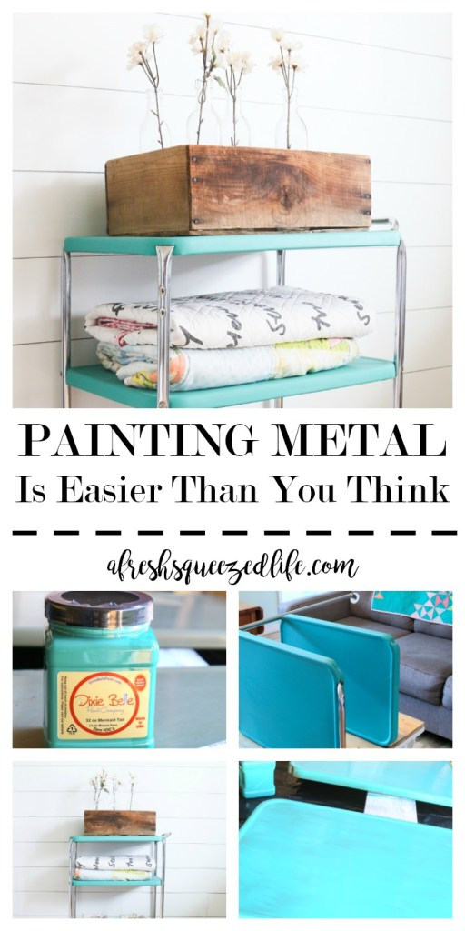 Painting on metal felt intimidating, but when I found this cart I knew I had to get over it. I am happy to say that painting metal is easier than you think! PAINTING METAL IS EASIER THAN YOU THINK