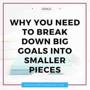 Why you need to break down big goals into smaller pieces