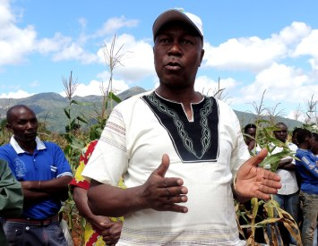 Dr Swai briefing farmers on the exercise of the day and its objective