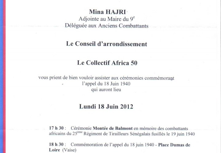 Hommage rendu aux Tirailleurs fusillés à Balmont à Lyon 9e