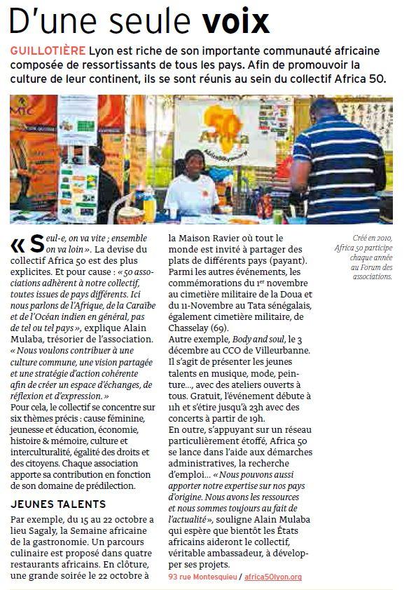 Africa 50 dans le Lyon Citoyen d'octobre 2016