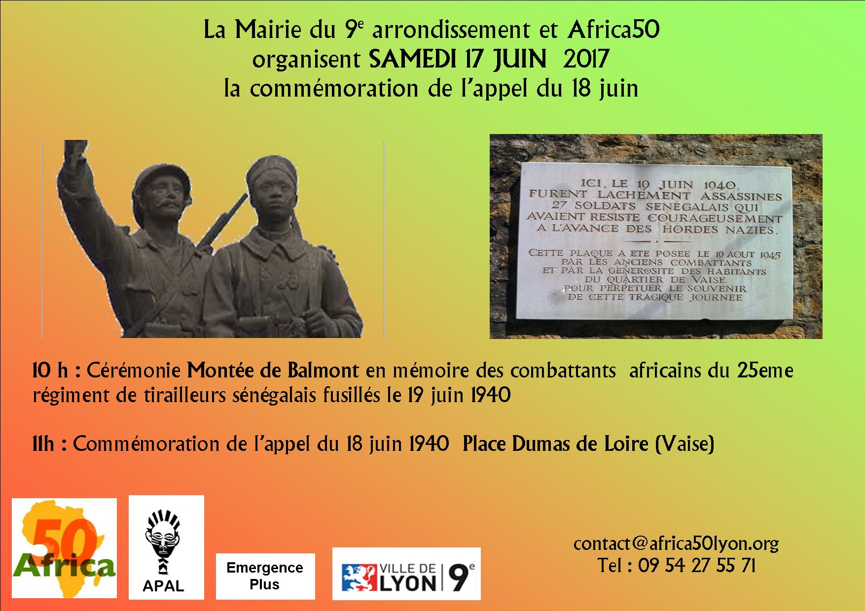 Hommage annuel aux Tirailleurs sénégalais samedi 17 juin à 10 h à Balmont (Lyon 9ème)