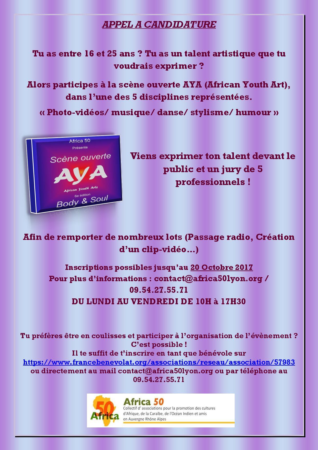 Appel à candidatures scène ouverte AYA (African Youth Art) 6e édition de Body & Soul le 22 décembre 2017