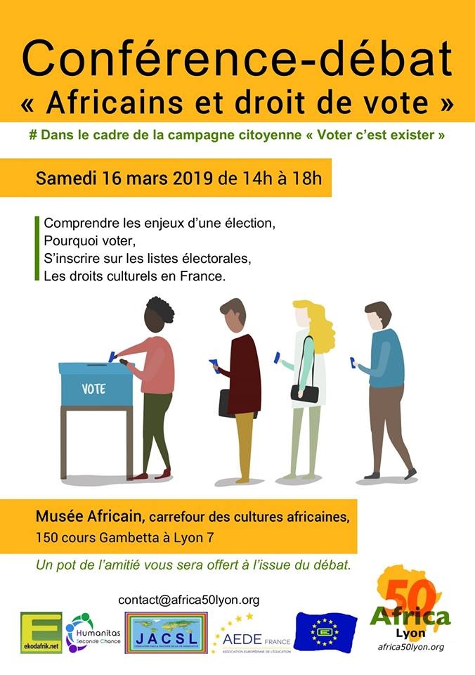 """[VOTER C'EST EXISTER] Conférence-Débat """"Les Afros, le droit de vote et les Européennes"""" samedi 16 mars 2019"""