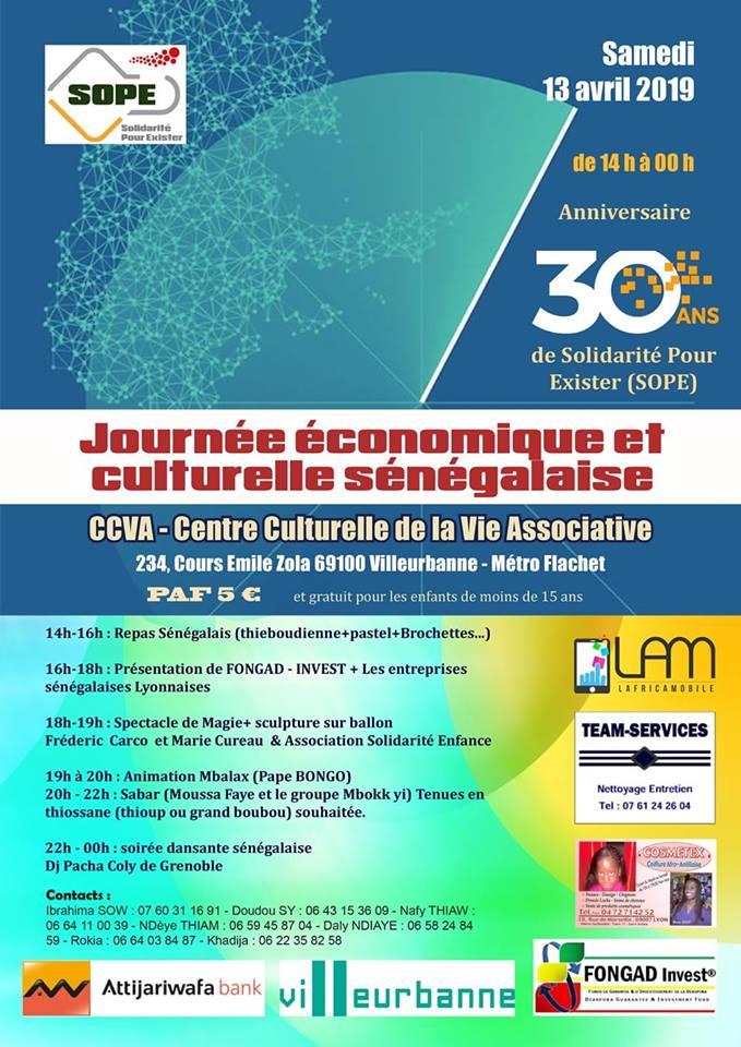 [SENEGAL] Journée économique et culturelle organisée par SOPE samedi 13 avril 2019 à Villeurbanne