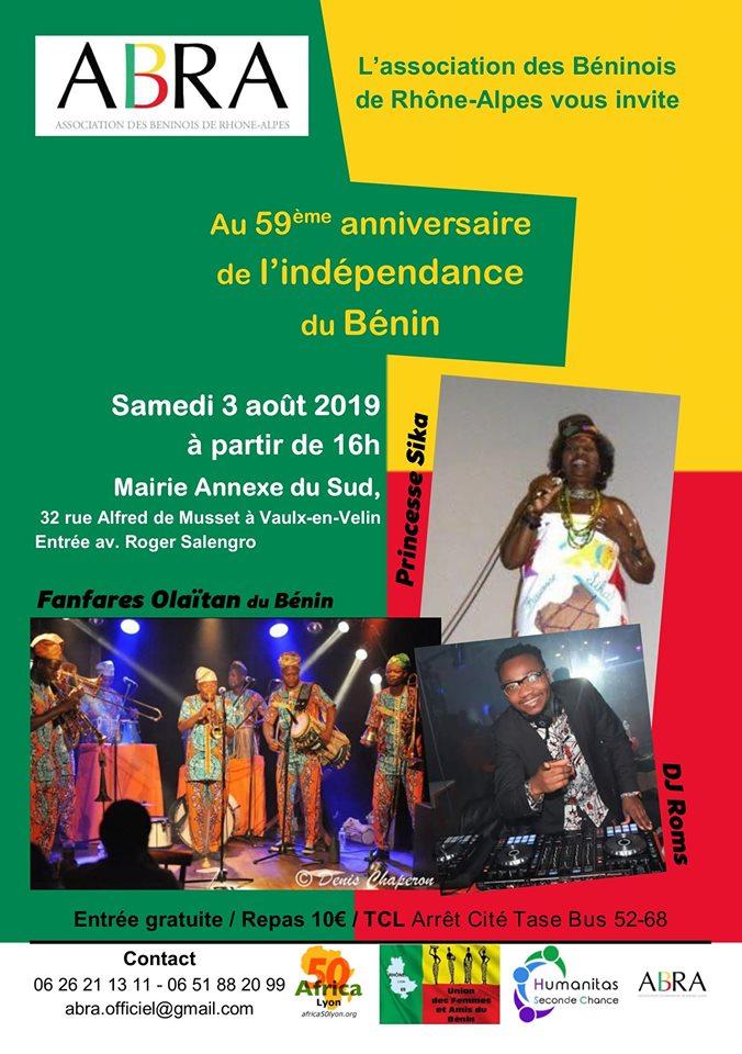 [BENIN] L'ABRA célèbre les 59 ans d'indépendance le samedi 3 août 2019 à Vaulx