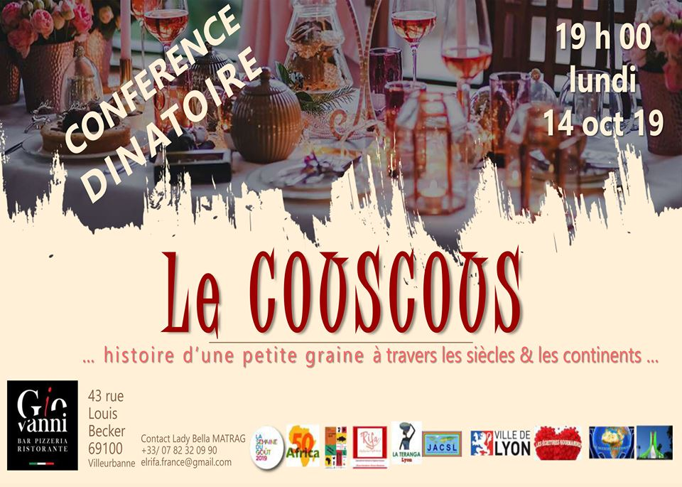 [DECOUVERTES] Conférence dînatoire « Histoire du couscous, histoire d'une graine à travers les siècles et les continents » lundi 14 octobre 2019 à Villeurbanne