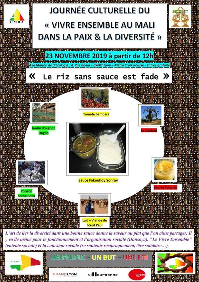 [MALI] Journée culturelle à Lyon du vivre ensemble dans la paix et la diversité samedi 23 novembre 2019