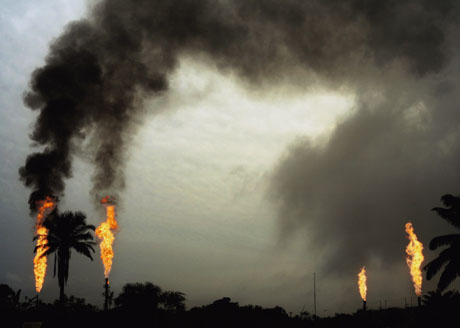 Gas flares at an Agip installation in Nigeria